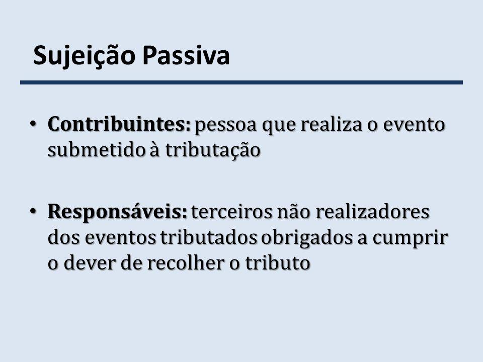 Sujeição Passiva Contribuintes: pessoa que realiza o evento submetido à tributação.