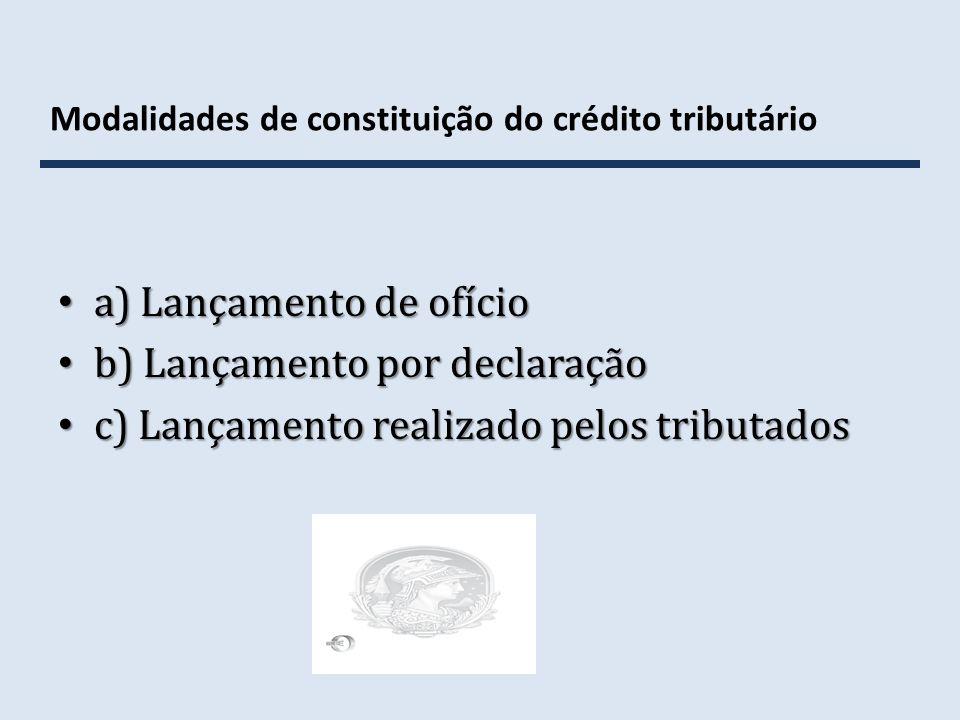 Modalidades de constituição do crédito tributário