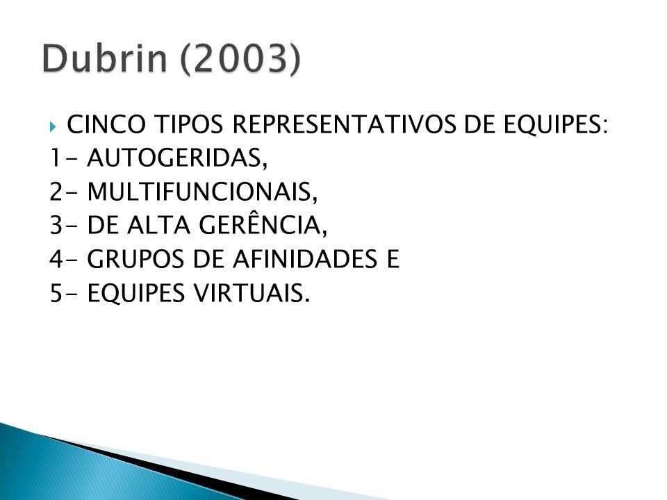 Dubrin (2003) CINCO TIPOS REPRESENTATIVOS DE EQUIPES: 1- AUTOGERIDAS,