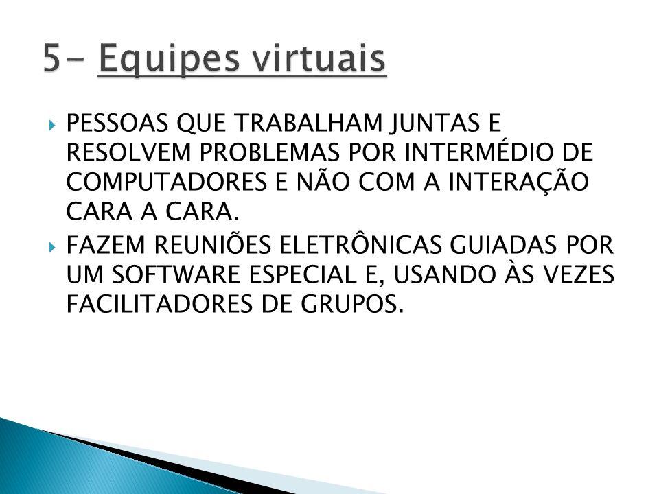 5- Equipes virtuais PESSOAS QUE TRABALHAM JUNTAS E RESOLVEM PROBLEMAS POR INTERMÉDIO DE COMPUTADORES E NÃO COM A INTERAÇÃO CARA A CARA.