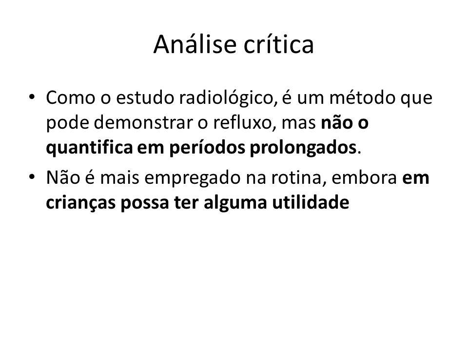 Análise crítica Como o estudo radiológico, é um método que pode demonstrar o refluxo, mas não o quantifica em períodos prolongados.