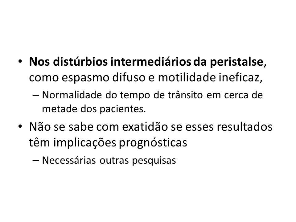Nos distúrbios intermediários da peristalse, como espasmo difuso e motilidade ineficaz,