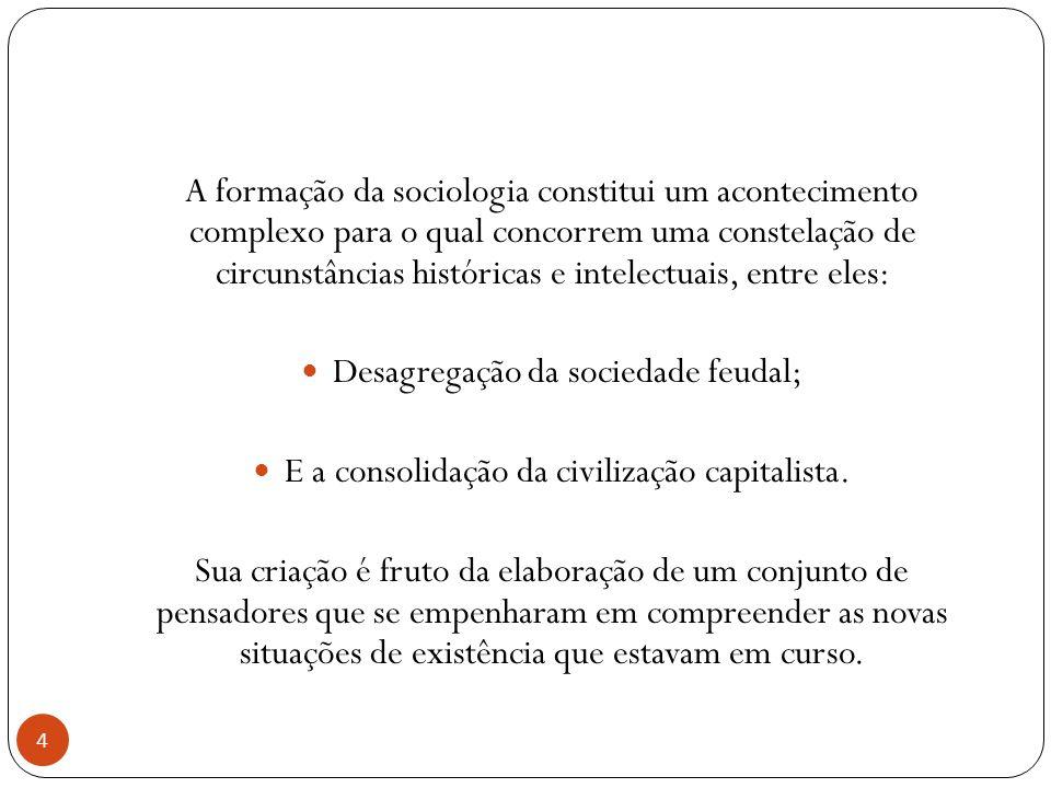 Desagregação da sociedade feudal;