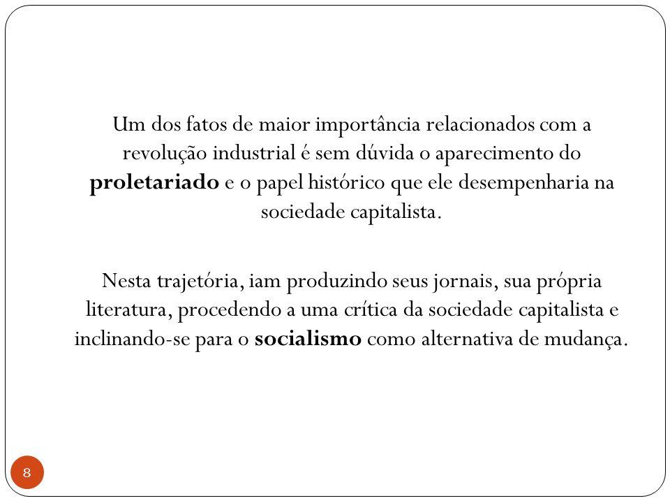 Um dos fatos de maior importância relacionados com a revolução industrial é sem dúvida o aparecimento do proletariado e o papel histórico que ele desempenharia na sociedade capitalista.