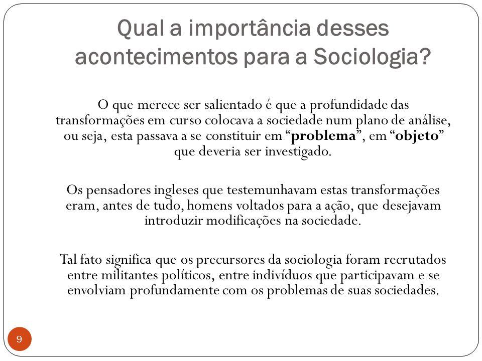 Qual a importância desses acontecimentos para a Sociologia