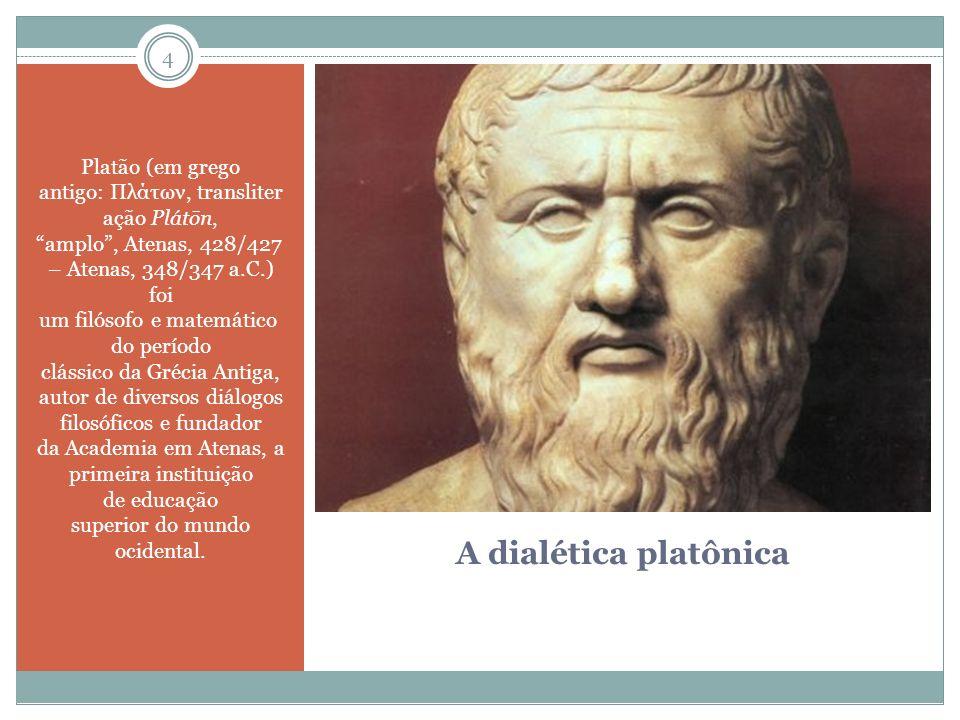 Platão (em grego antigo: Πλάτων, transliter ação Plátōn, amplo , Atenas, 428/427 – Atenas, 348/347 a.C.) foi um filósofo e matemático do período clássico da Grécia Antiga, autor de diversos diálogos filosóficos e fundador da Academia em Atenas, a primeira instituição de educação superior do mundo ocidental.