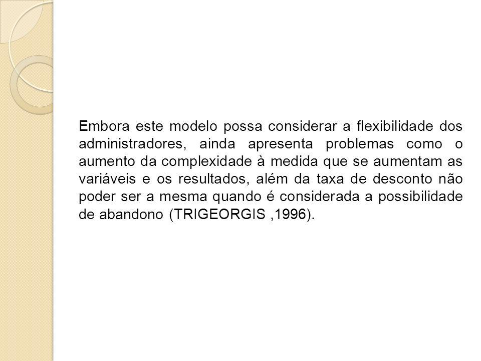 Embora este modelo possa considerar a flexibilidade dos administradores, ainda apresenta problemas como o aumento da complexidade à medida que se aumentam as variáveis e os resultados, além da taxa de desconto não poder ser a mesma quando é considerada a possibilidade de abandono (TRIGEORGIS ,1996).