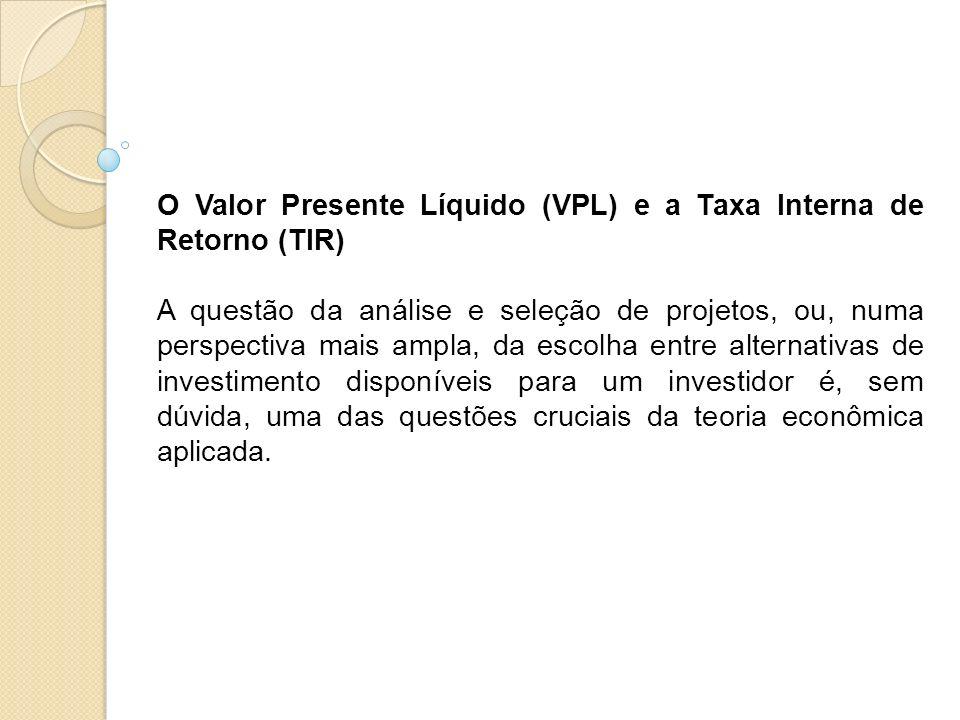 O Valor Presente Líquido (VPL) e a Taxa Interna de Retorno (TIR)