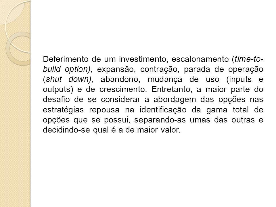 Deferimento de um investimento, escalonamento (time-to-build option), expansão, contração, parada de operação (shut down), abandono, mudança de uso (inputs e outputs) e de crescimento.