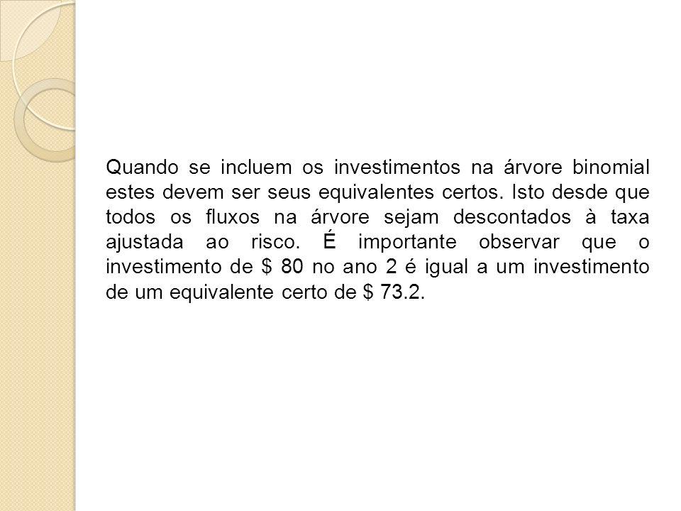 Quando se incluem os investimentos na árvore binomial estes devem ser seus equivalentes certos.