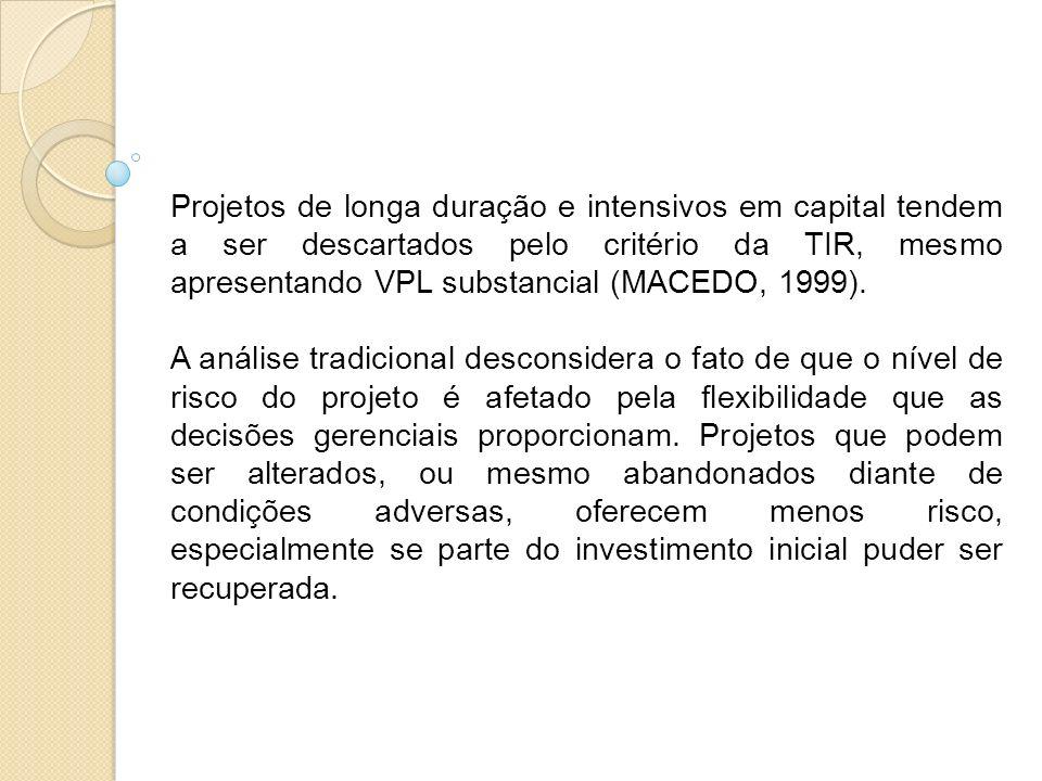 Projetos de longa duração e intensivos em capital tendem a ser descartados pelo critério da TIR, mesmo apresentando VPL substancial (MACEDO, 1999).