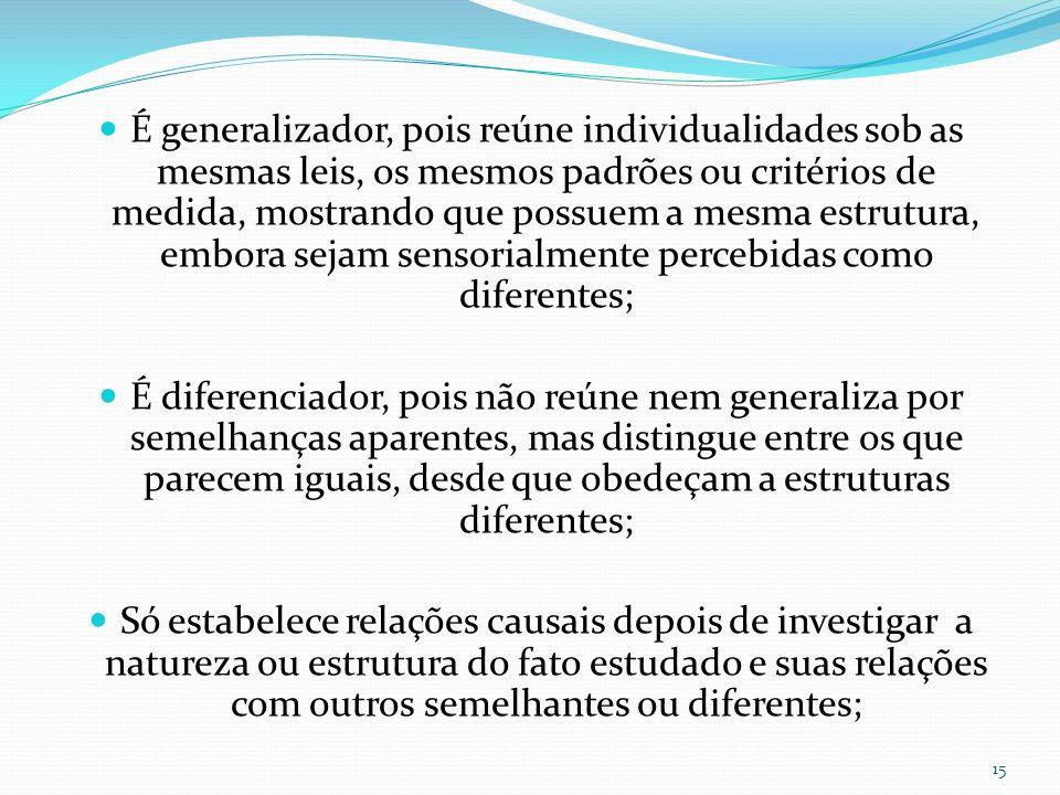 É generalizador, pois reúne individualidades sob as mesmas leis, os mesmos padrões ou critérios de medida, mostrando que possuem a mesma estrutura, embora sejam sensorialmente percebidas como diferentes;