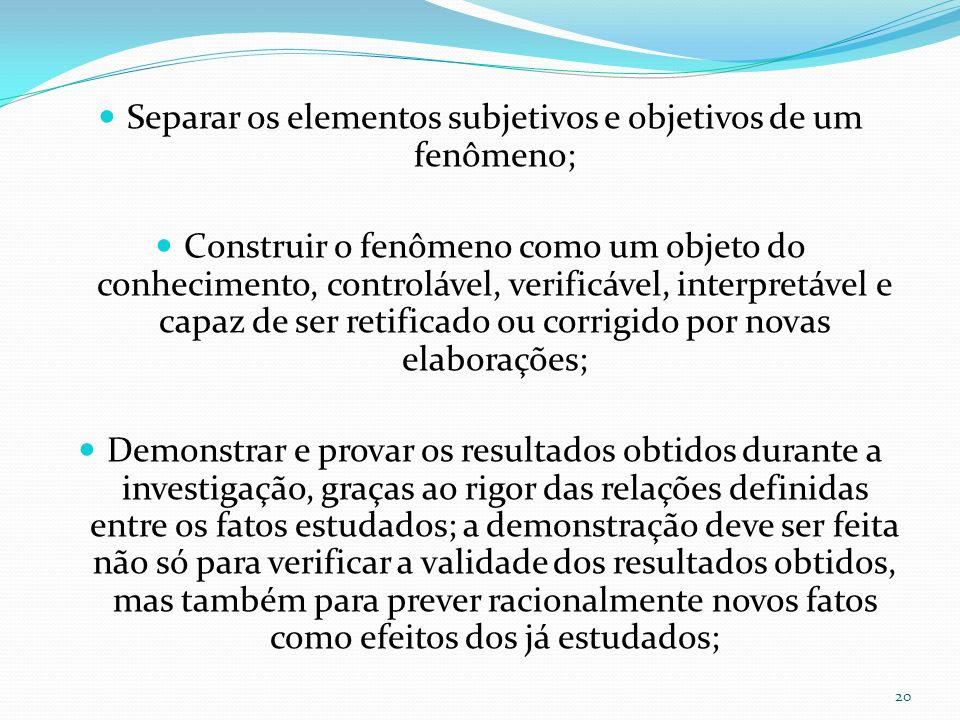 Separar os elementos subjetivos e objetivos de um fenômeno;