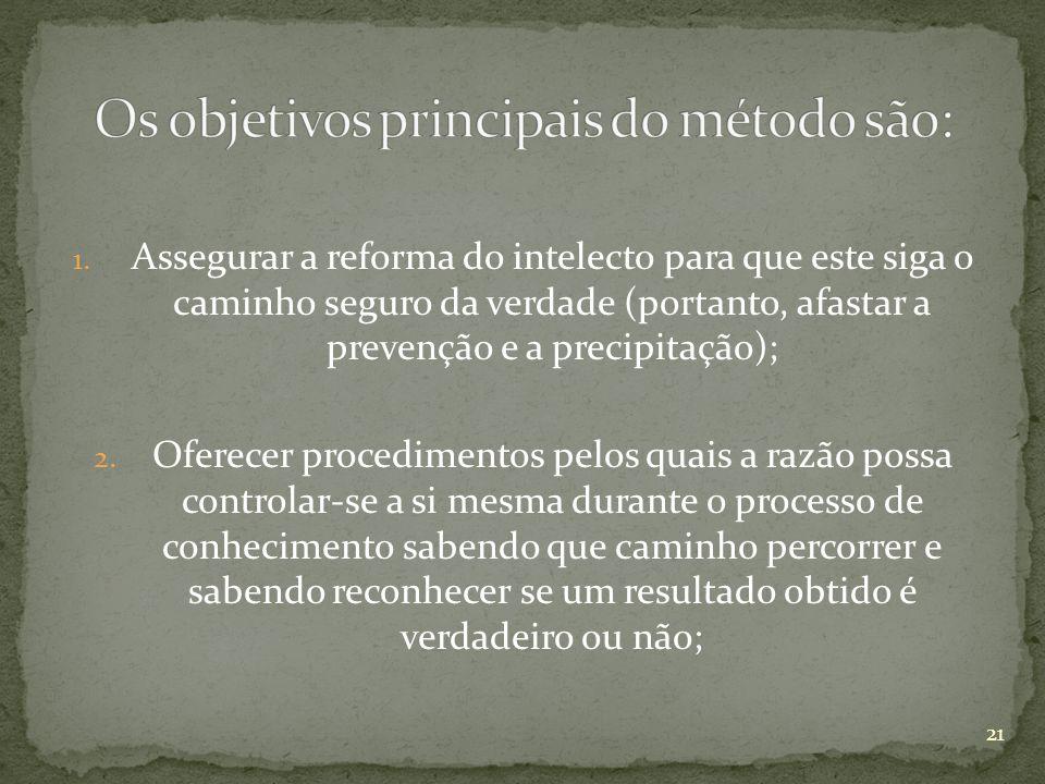Os objetivos principais do método são: