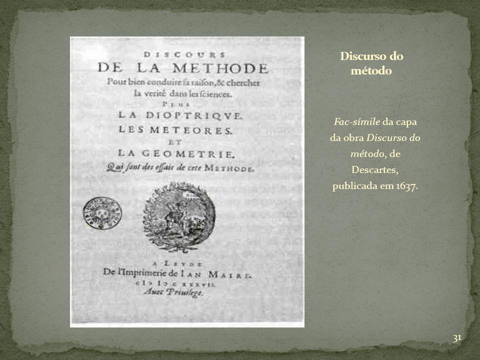 Discurso do método Fac-símile da capa da obra Discurso do método, de Descartes, publicada em 1637.