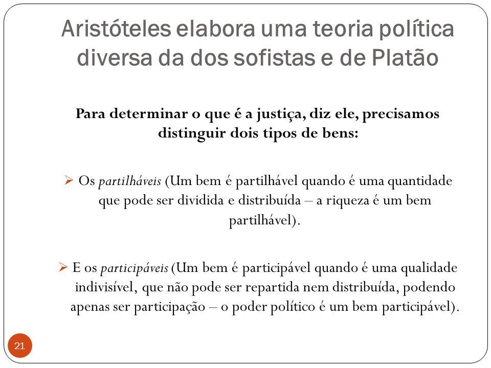 Aristóteles elabora uma teoria política diversa da dos sofistas e de Platão