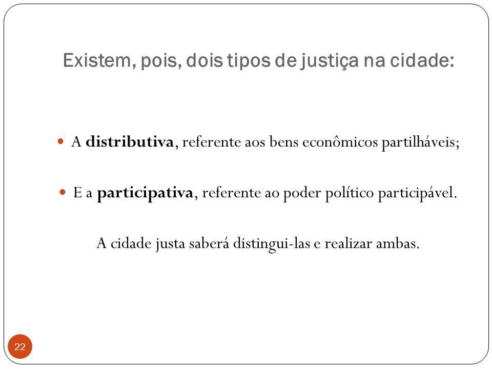 Existem, pois, dois tipos de justiça na cidade: