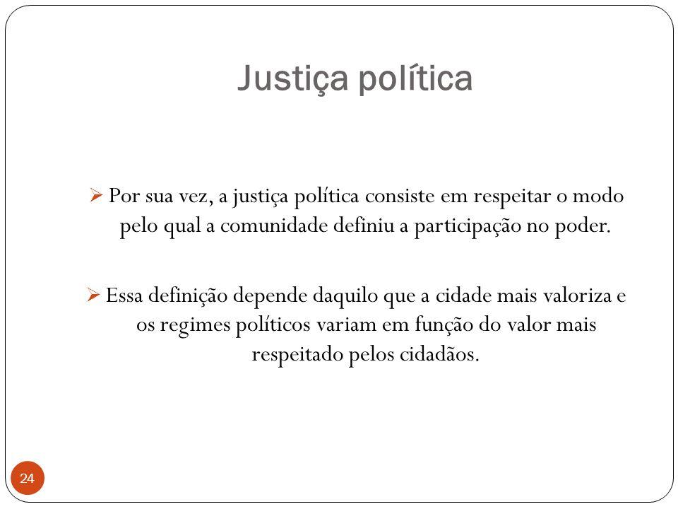 Justiça política Por sua vez, a justiça política consiste em respeitar o modo pelo qual a comunidade definiu a participação no poder.
