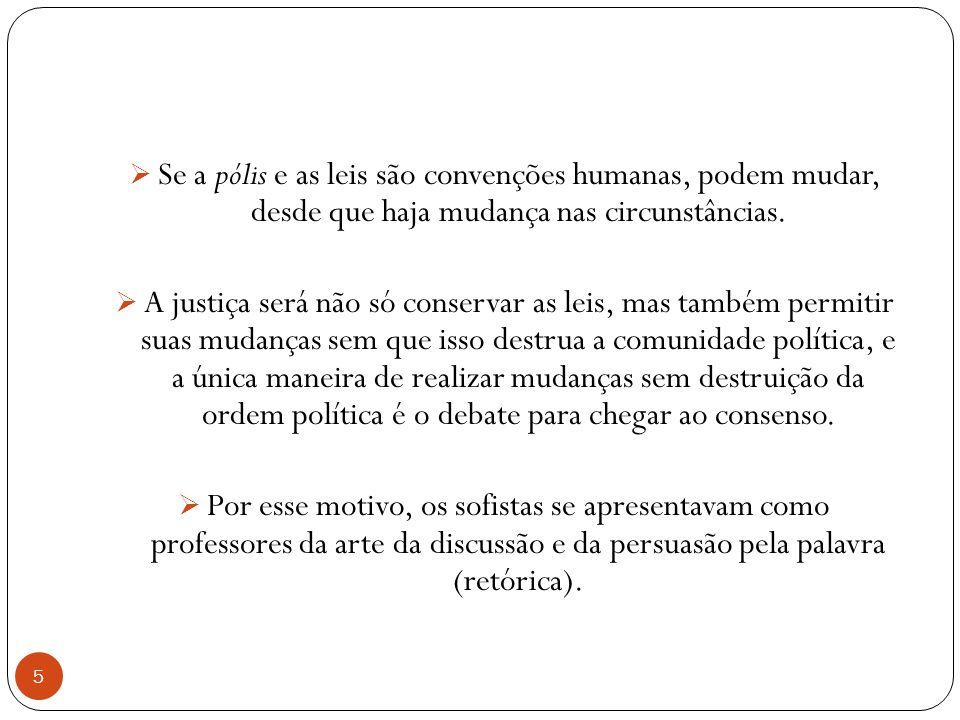 Se a pólis e as leis são convenções humanas, podem mudar, desde que haja mudança nas circunstâncias.