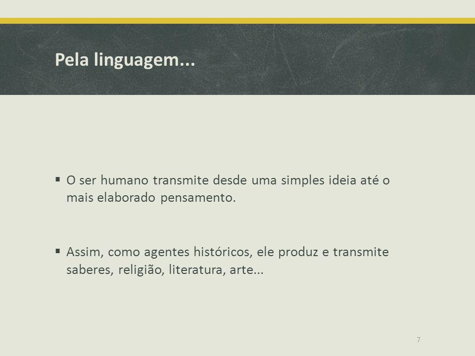 Pela linguagem... O ser humano transmite desde uma simples ideia até o mais elaborado pensamento.