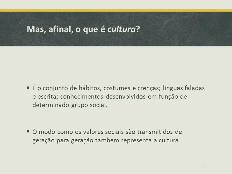 Mas, afinal, o que é cultura