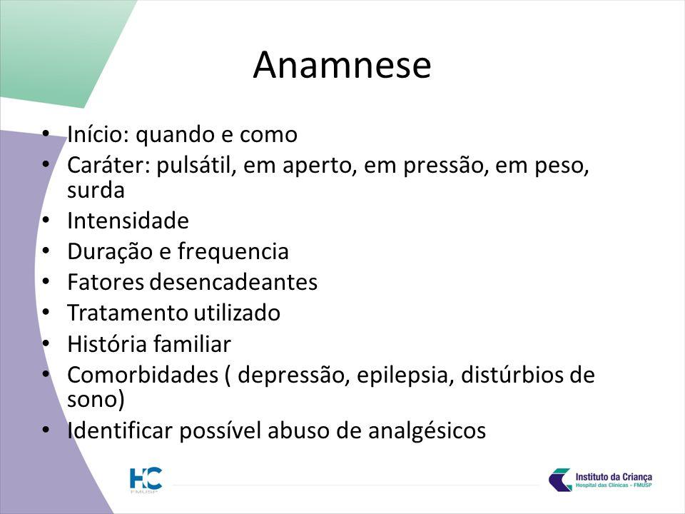 Anamnese Início: quando e como
