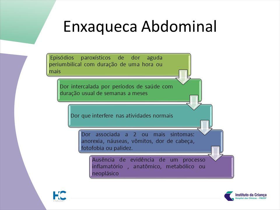 Enxaqueca Abdominal Episódios paroxísticos de dor aguda periumbilical com duração de uma hora ou mais.