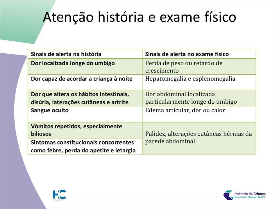 Atenção história e exame físico