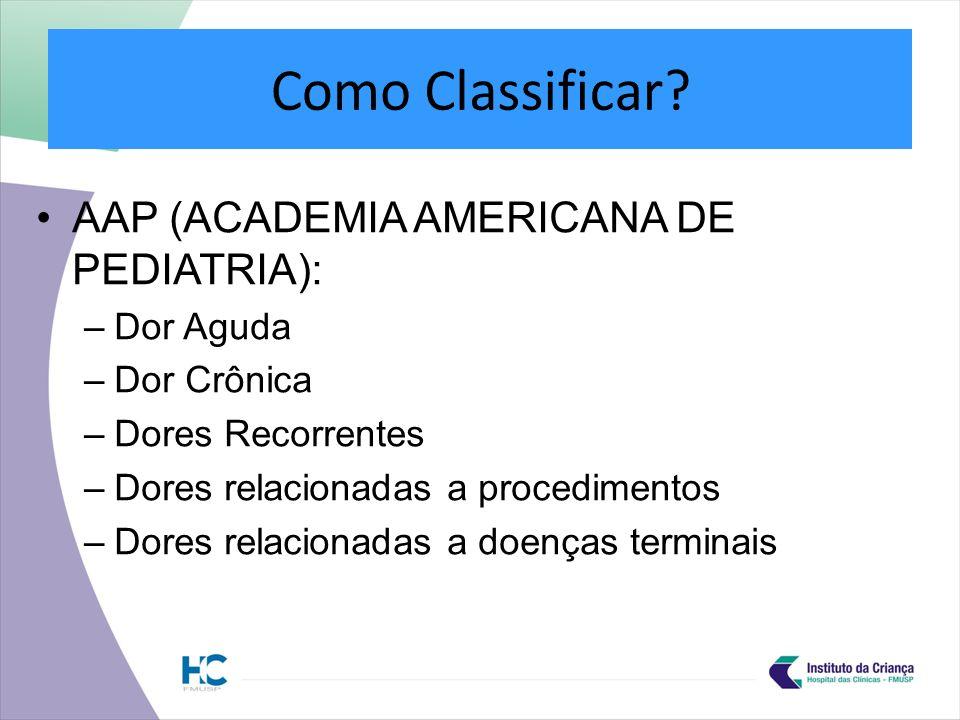 Como Classificar AAP (ACADEMIA AMERICANA DE PEDIATRIA): Dor Aguda