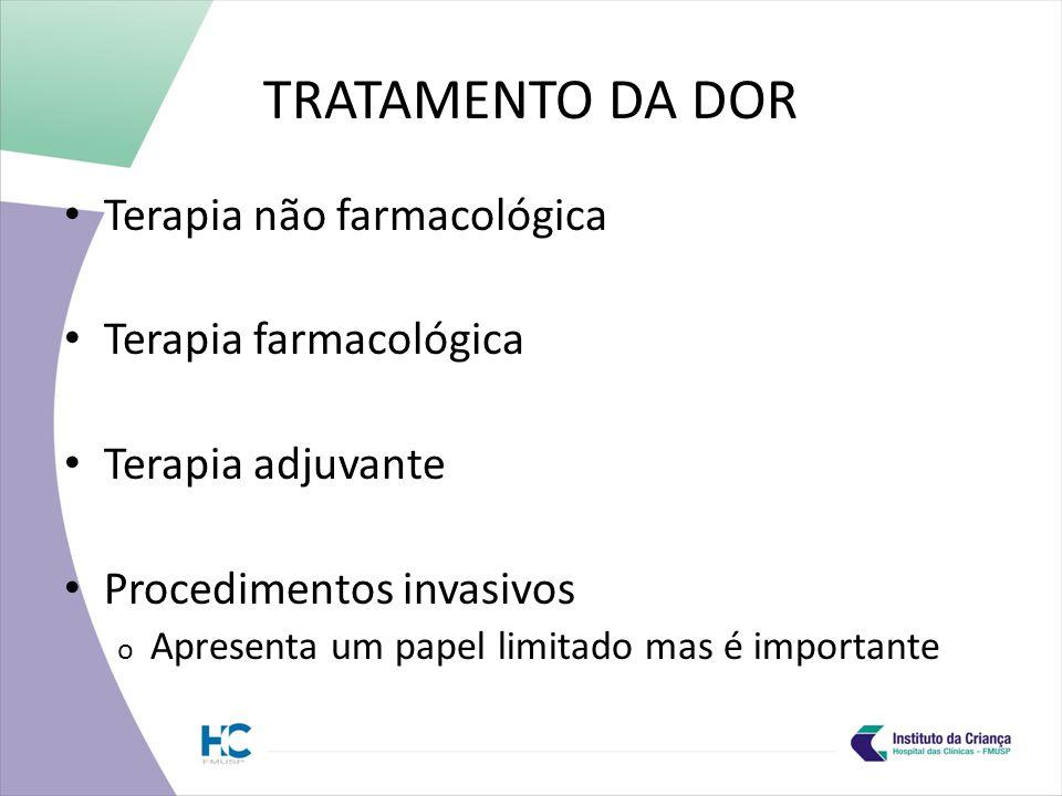 TRATAMENTO DA DOR Terapia não farmacológica Terapia farmacológica