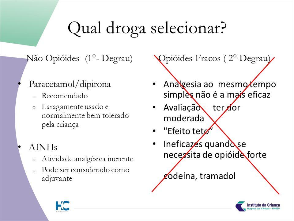Qual droga selecionar Não Opióides (1°- Degrau) Paracetamol/dipirona