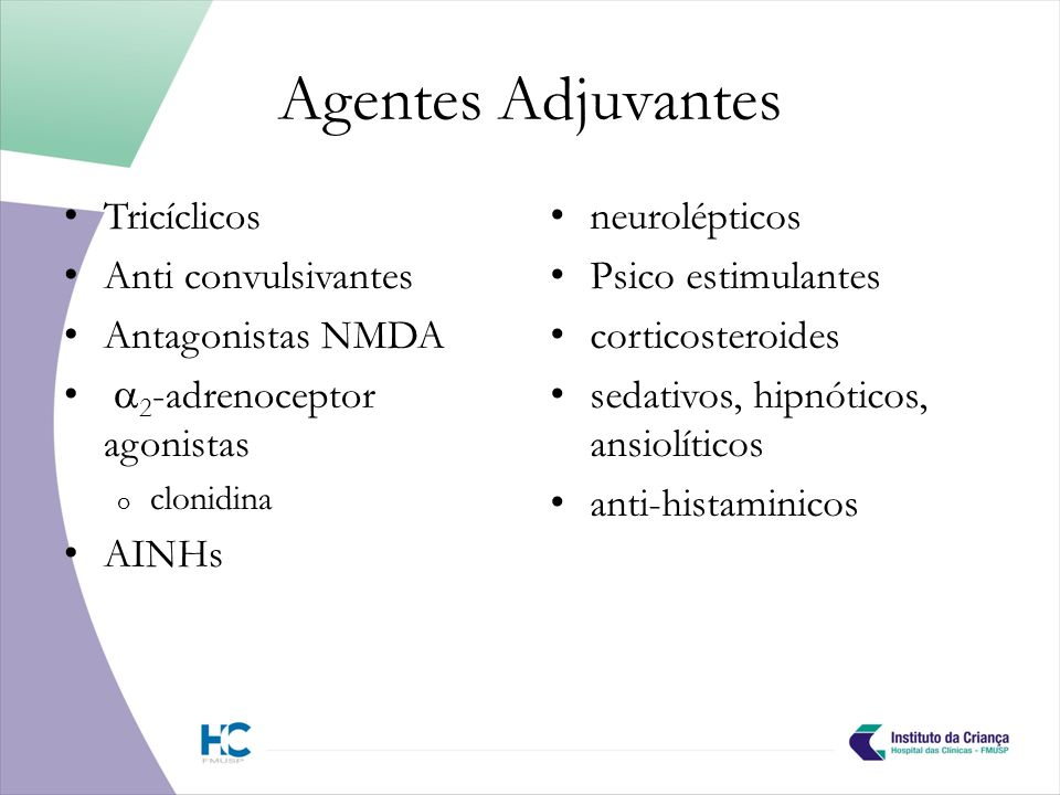 Agentes Adjuvantes Tricíclicos Anti convulsivantes Antagonistas NMDA
