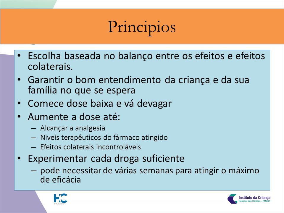 Principios Escolha baseada no balanço entre os efeitos e efeitos colaterais.