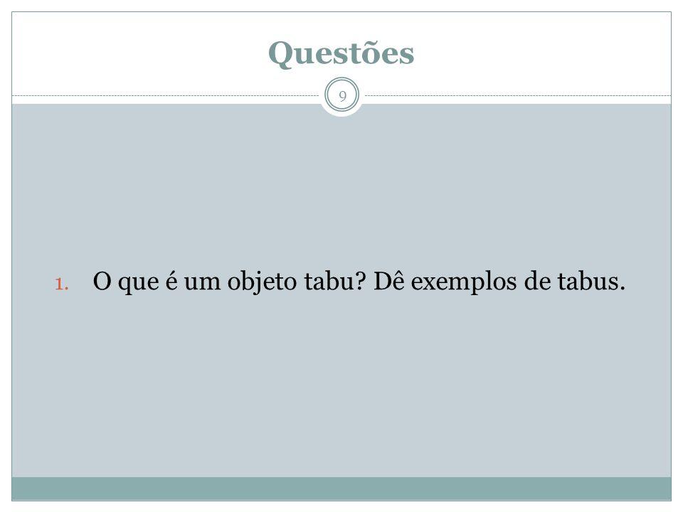 O que é um objeto tabu Dê exemplos de tabus.