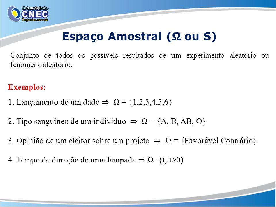 Espaço Amostral (Ω ou S)