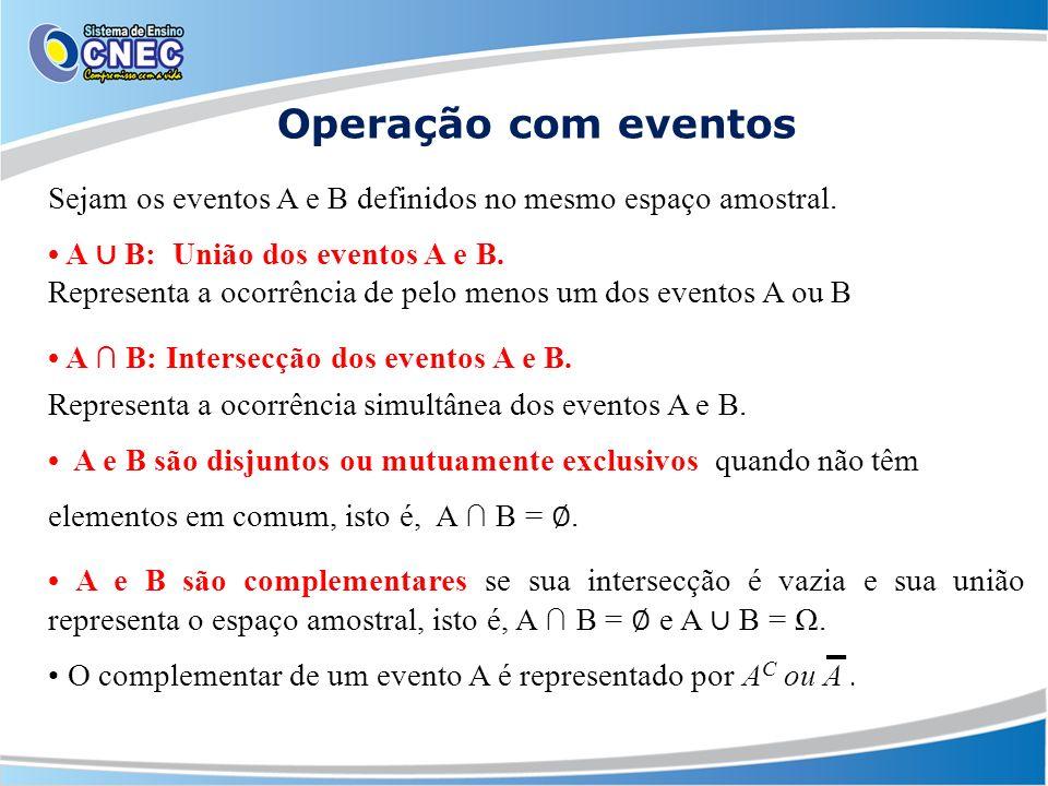 Operação com eventos Sejam os eventos A e B definidos no mesmo espaço amostral. • A ∪ B: União dos eventos A e B.