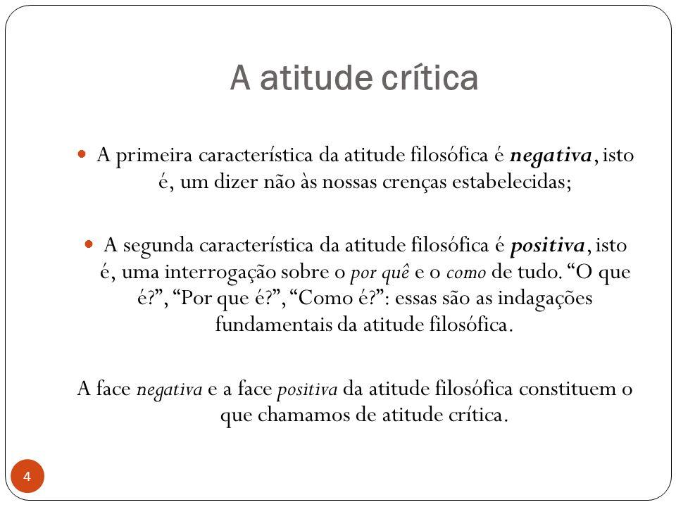 A atitude crítica A primeira característica da atitude filosófica é negativa, isto é, um dizer não às nossas crenças estabelecidas;