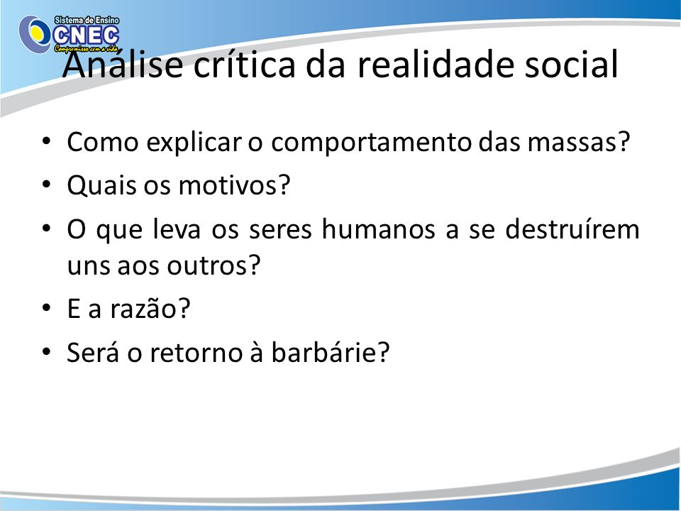 Análise crítica da realidade social