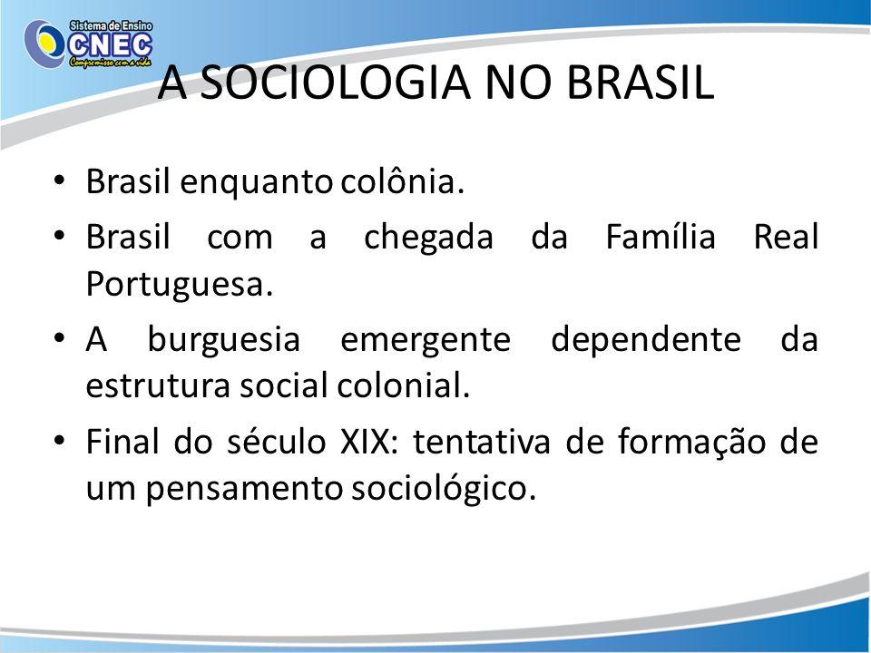 A SOCIOLOGIA NO BRASIL Brasil enquanto colônia.