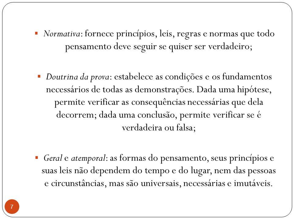 Normativa: fornece princípios, leis, regras e normas que todo pensamento deve seguir se quiser ser verdadeiro;