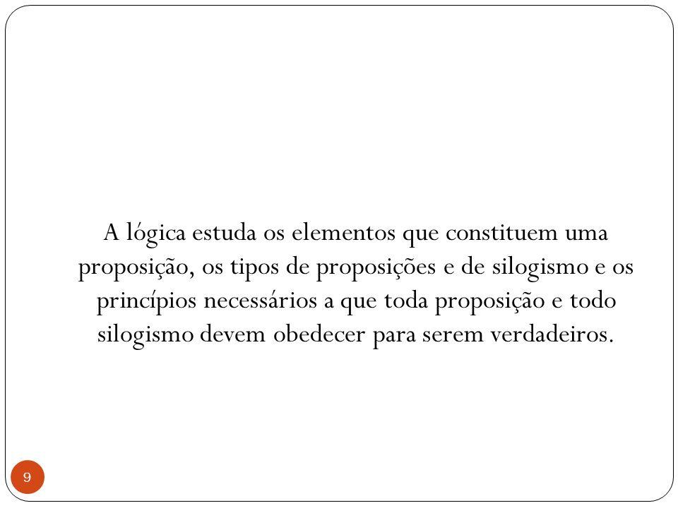 A lógica estuda os elementos que constituem uma proposição, os tipos de proposições e de silogismo e os princípios necessários a que toda proposição e todo silogismo devem obedecer para serem verdadeiros.