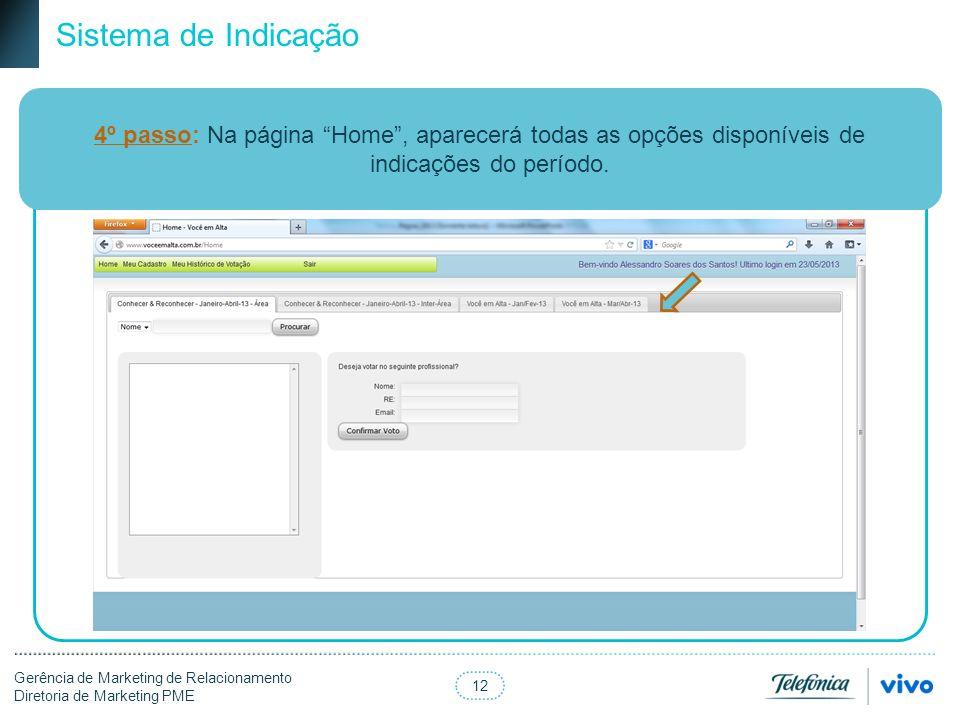 Sistema de Indicação 4º passo: Na página Home , aparecerá todas as opções disponíveis de indicações do período.