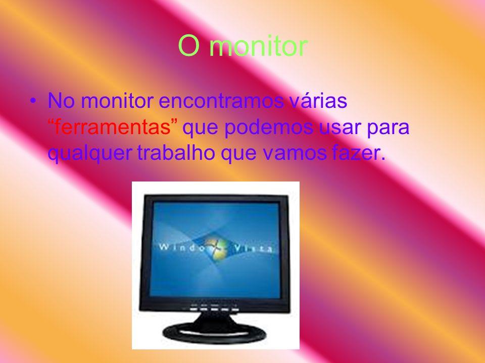 O monitor No monitor encontramos várias ferramentas que podemos usar para qualquer trabalho que vamos fazer.