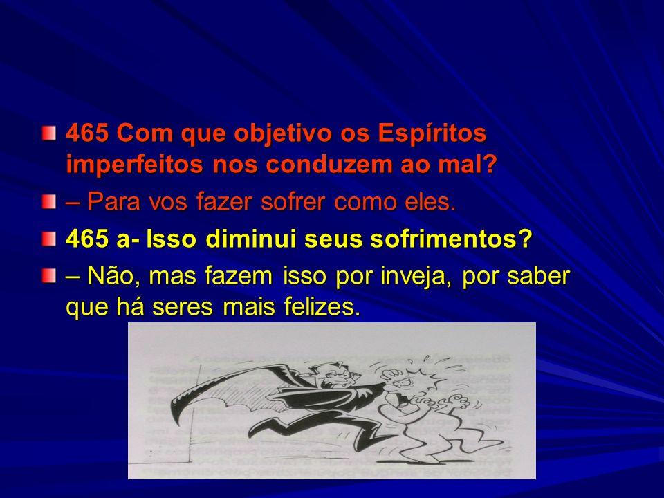 465 Com que objetivo os Espíritos imperfeitos nos conduzem ao mal
