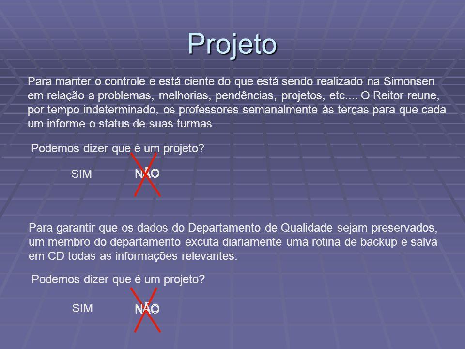 Projeto Para manter o controle e está ciente do que está sendo realizado na Simonsen.