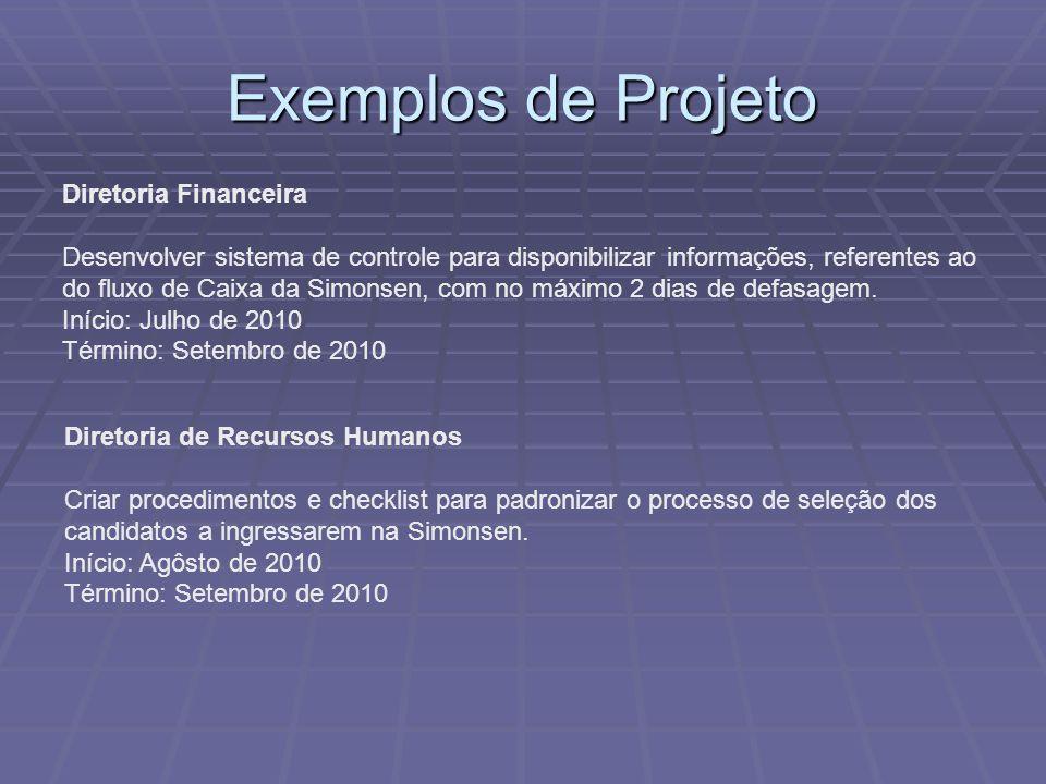 Exemplos de Projeto Diretoria Financeira