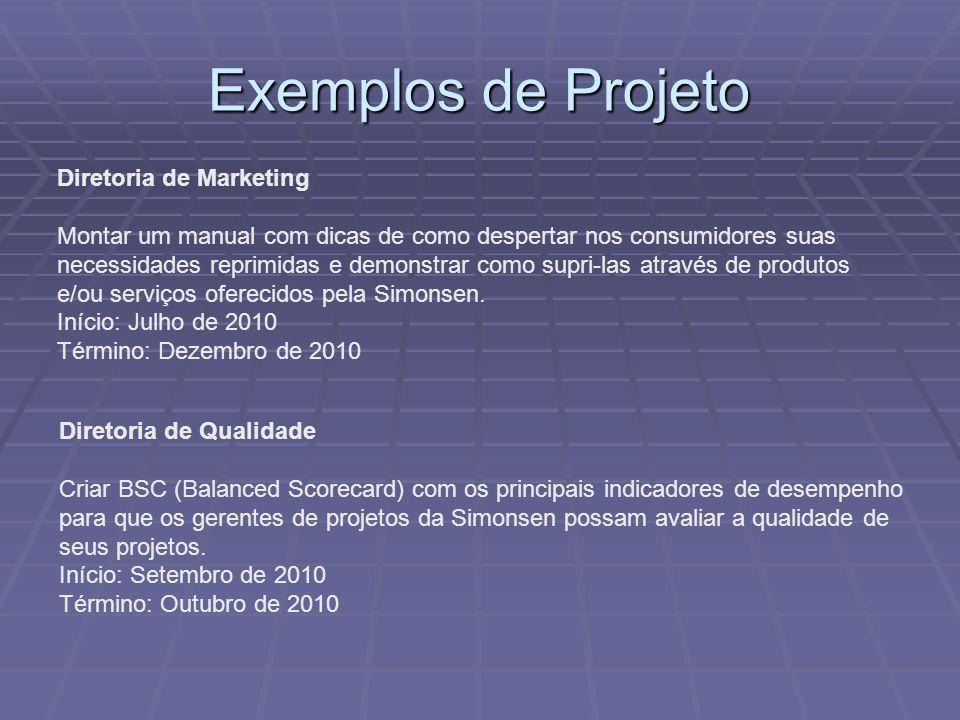 Exemplos de Projeto Diretoria de Marketing