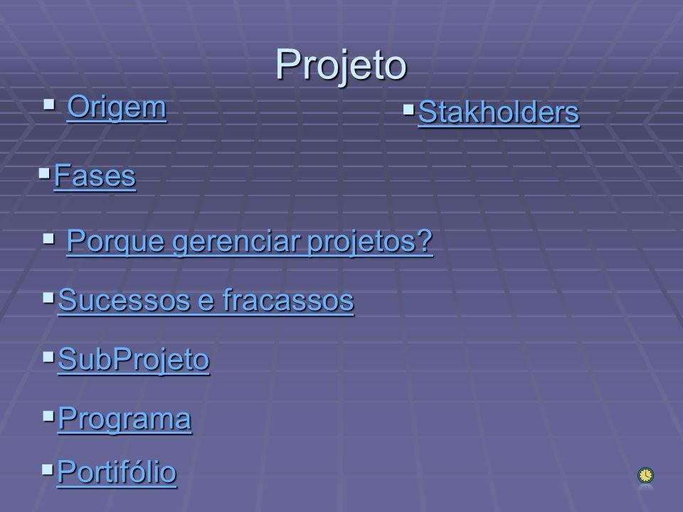 Projeto Origem Stakholders Fases Porque gerenciar projetos