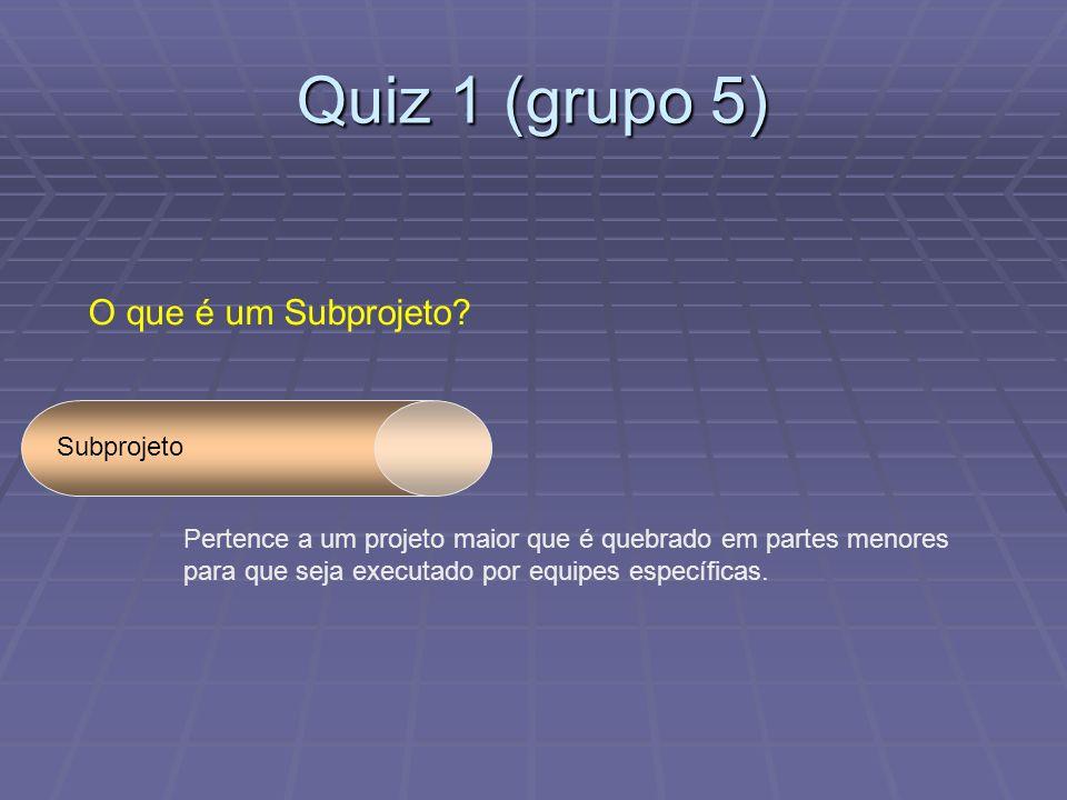Quiz 1 (grupo 5) O que é um Subprojeto Subprojeto