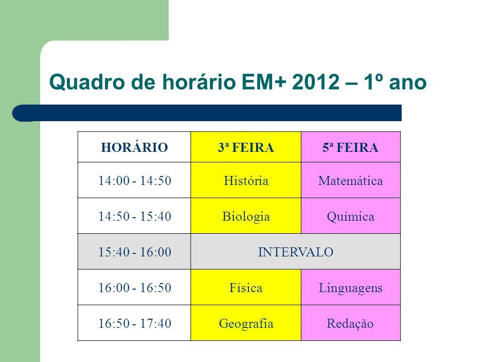 Quadro de horário EM+ 2012 – 1º ano